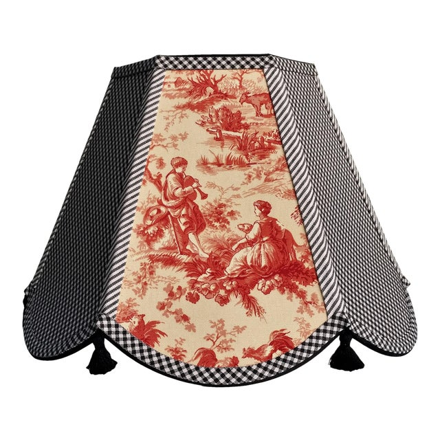 Red Toile Lampshade Black White Gingham For Sale