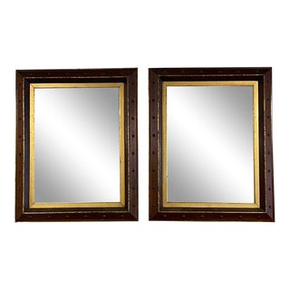 Spanish Mirrors With Stained and Gilt Frames - a Pair For Sale