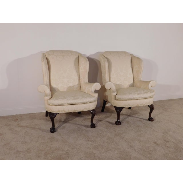 Kindel Furniture Kindel Winterthur Mahogany & Yellow Damask Easy Wingback Fireside Chairs - a Pair For Sale - Image 4 of 13