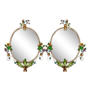 Pair of Italian Tole Floral Mirrors For Sale