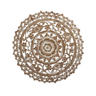 "White Wash Carved Medallion Panel 24"" For Sale"