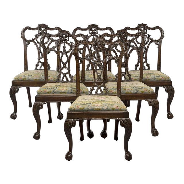 Set 8 19th C Hand Carved Chippendale Tassel Back Dining Chairs For Sale