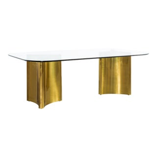 Mastercraft Brass Pedestal Table For Sale