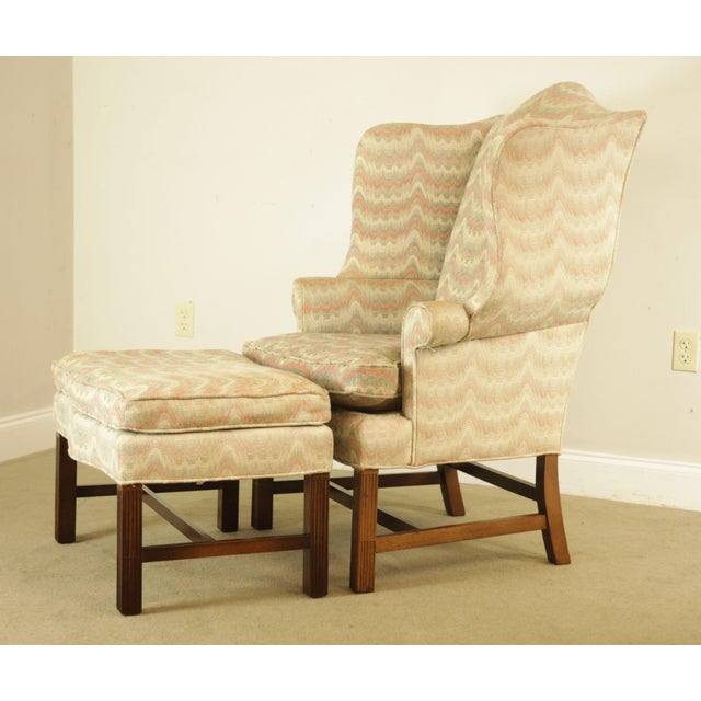 Carr & Company Chippendale Style Mahogany Wing Chair with Ottoman For Sale - Image 4 of 12