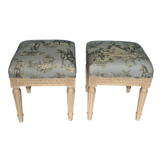 Louis XVI Style Painted Bench Newly Upholstered in a Hand Print Blue Toile Fabric - a Pair For Sale