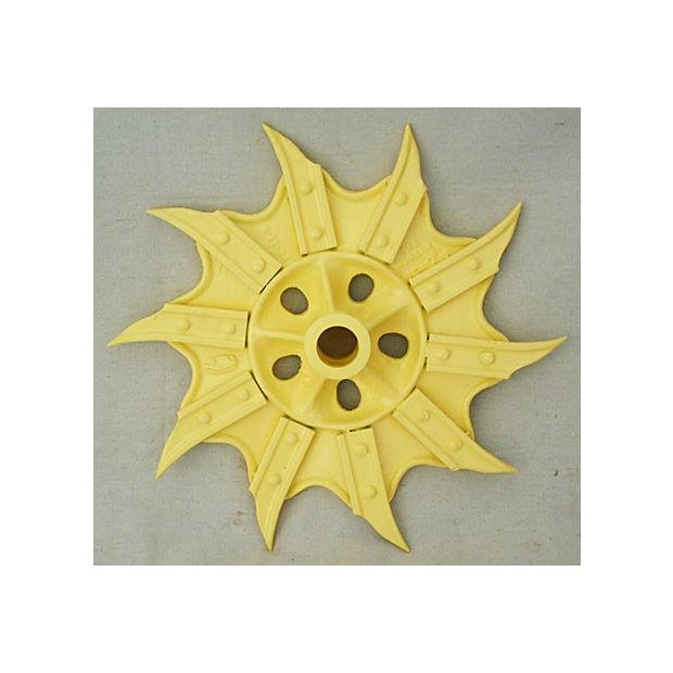 Vintage Yellow Industrial Iron Cultivator Wheel - Image 2 of 5