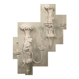 Vintage Chinoiserie White Lacquered Palm Frond Leaves Wall Light Sconces -A Pair