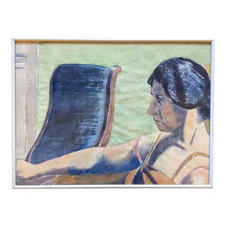 1928 Watercolor Portrait of a Woman by Charles Downing Lay For Sale
