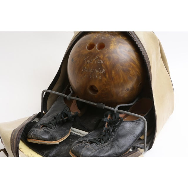 Industrial Vintage Brunswick Wind Jammer Bowling Carrying Bag, Ball, & Shoes Set For Sale - Image 3 of 5