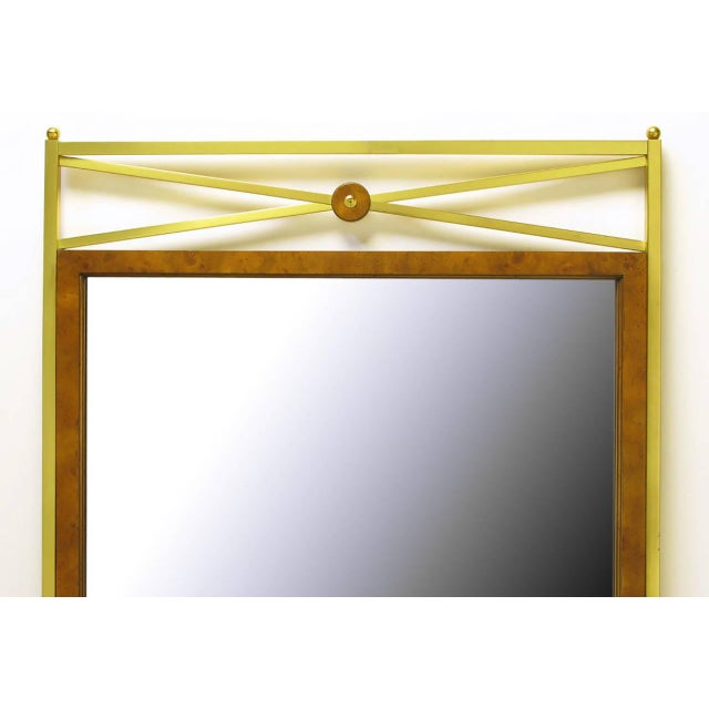 Empire Early Mastercraft Brass and Burl Empire Revival Mirror For Sale - Image 3 of 6