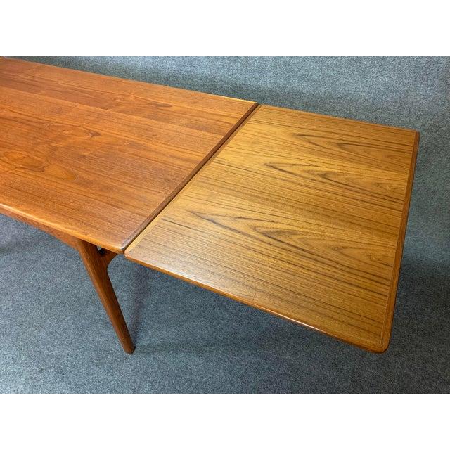 1960s Scandinavian Modern Teak Draw Leaf Dining Table For Sale - Image 10 of 11