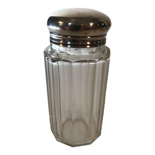 English Faceted Sterling Top Vanity Apothecary Bottle For Sale