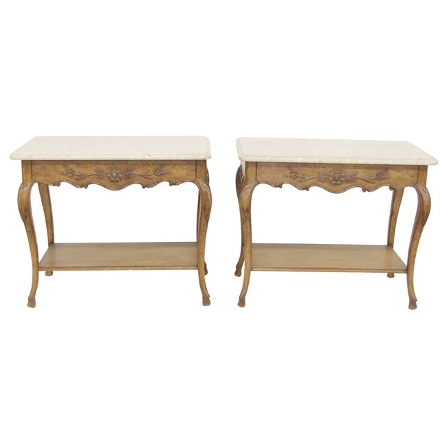 Auffray Marble Top Side Tables - A Pair For Sale