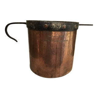 19th Century French Rustic Farmhouse Copper Pot Decalitre Iron Handles For Sale
