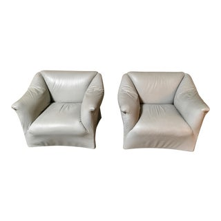 Mario Bellini Tentazioni Leather Lounge Chairs - a Pair For Sale