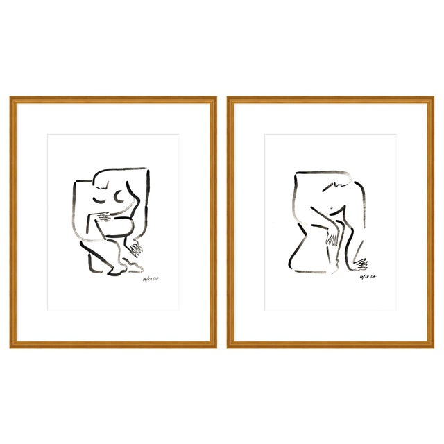 """Contemporary Medium """"Woman and Man, a Pair"""" Print by Sia Dzahn, 36"""" X 22"""" For Sale - Image 3 of 3"""
