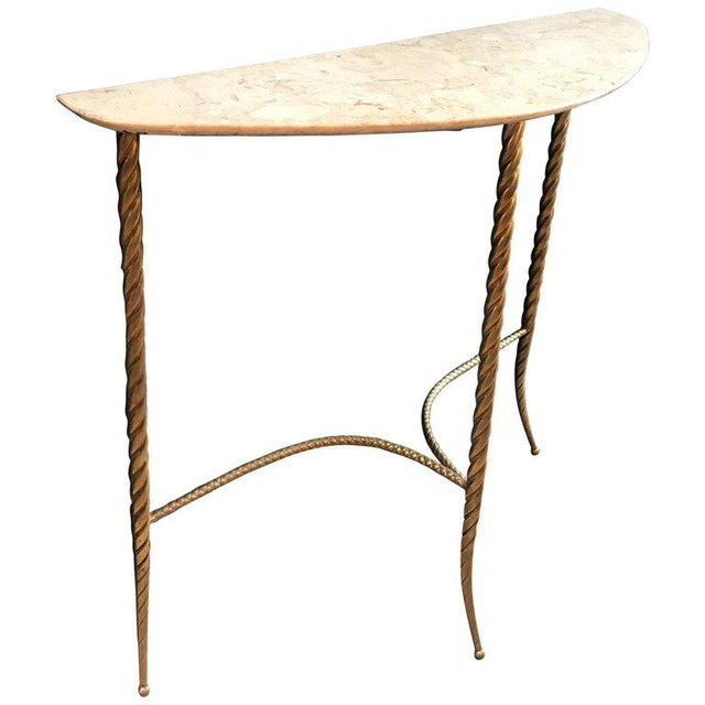 Console Table With Marble Top and Brass Legs, Italy 1940s For Sale - Image 13 of 13