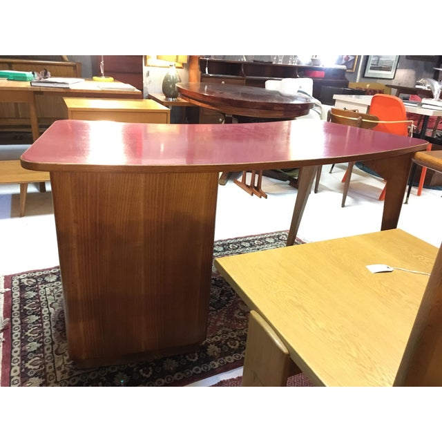 1950s Mid-Century Modern Oak and Red Laminate Writing Desk For Sale In Chicago - Image 6 of 9
