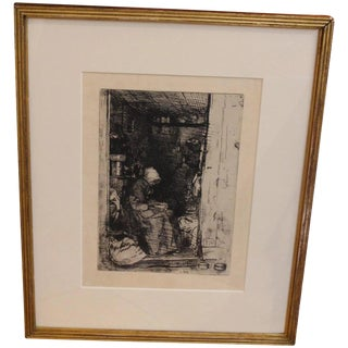 """La Vieille Aux Loques"" James Abbot McNeill Whistler Etching For Sale"