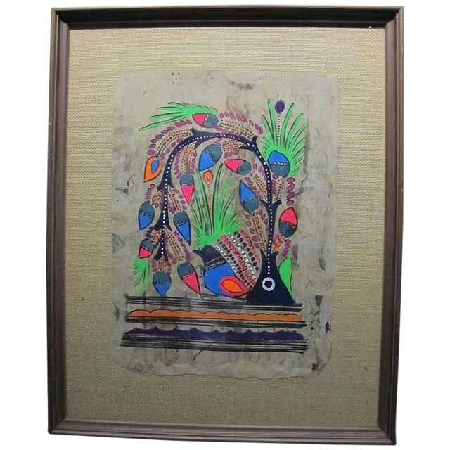 Otomi Mexican Folk Art Amate Painting - Image 1 of 9