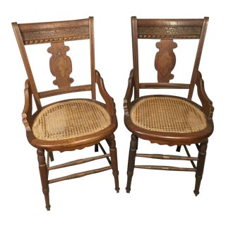 Antique Victorian & Caned Seat Side Chairs - a Pair For Sale