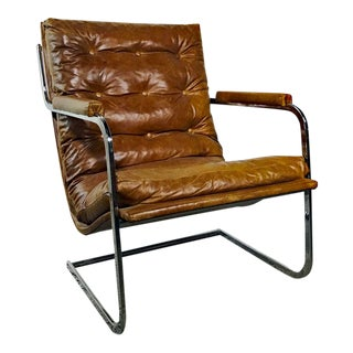 1970s Vintage Milo Baughman for Carsons Cognac Leather and Chrome Cantilever Chair For Sale
