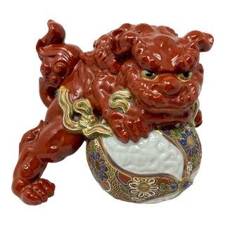 Japanese Red Kutani Lion Foo Dog Shishi on Ball Statue For Sale