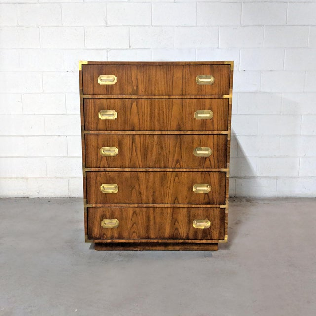 1970s Campaign Dixie Furniture Tall Dresser For Sale - Image 12 of 12