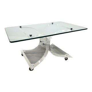 Mid-Century Modern Lucite Glass Chrome Butterfly Coffee Table For Sale