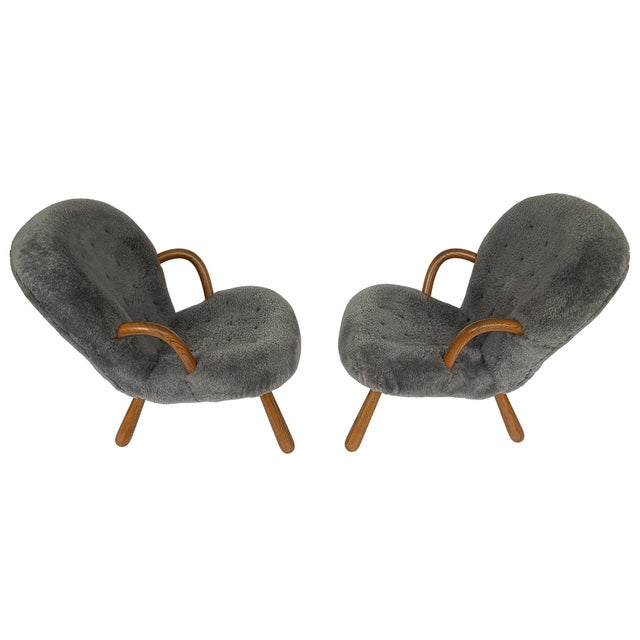 Danish Modern Philip Arctander for Paustian Gray Sheepskin Upholstered Lounge Chairs - a Pair For Sale - Image 3 of 13
