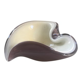 Murano Glass Lavender White and Gold Flecks Heart Bowl For Sale