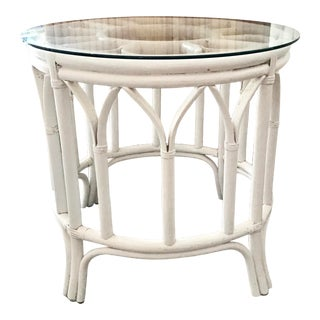 Ficks Reed Round Rattan Boho Chic Side Table For Sale