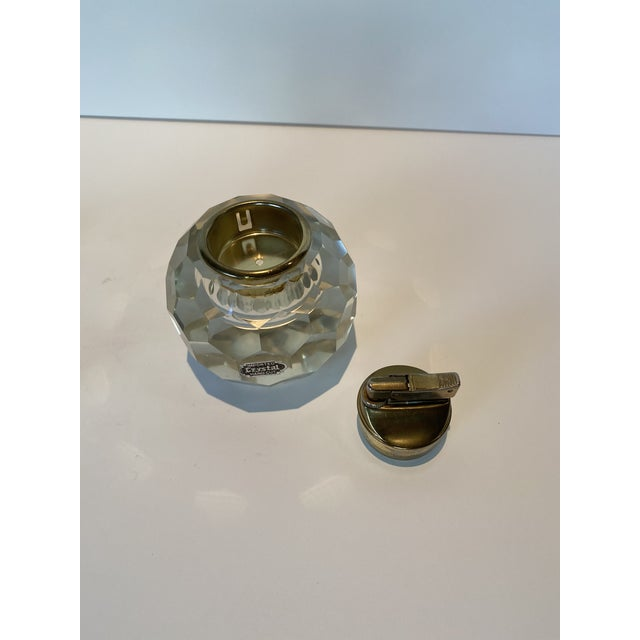 Vintage Crystal Table Lighter and Ashtray For Sale - Image 4 of 6