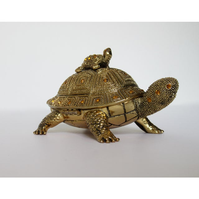 Greek Key Gilt Brass Bejeweled Turtle Lidded Keepsake Box, Letter Opener & Magnifier Set in One - 3 Pieces For Sale - Image 4 of 13