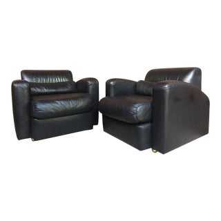Jay Spectre Century Furniture Leather Lounge Chairs-A Pair For Sale