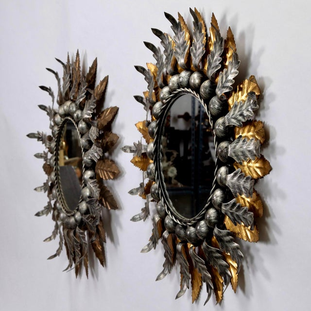 Spanish Gilt and Silver Metal Sunburst Mirrors - a Pair For Sale - Image 4 of 10