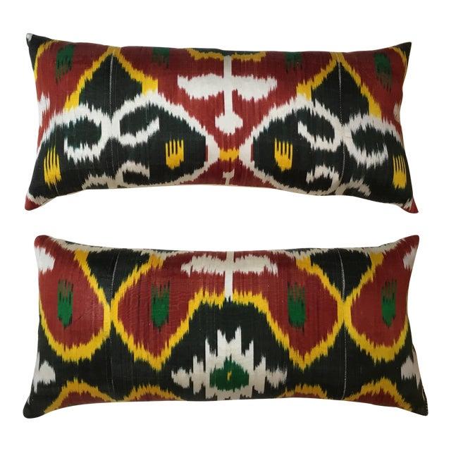 Silk Ikat Lumbar Pillows - a Pair For Sale