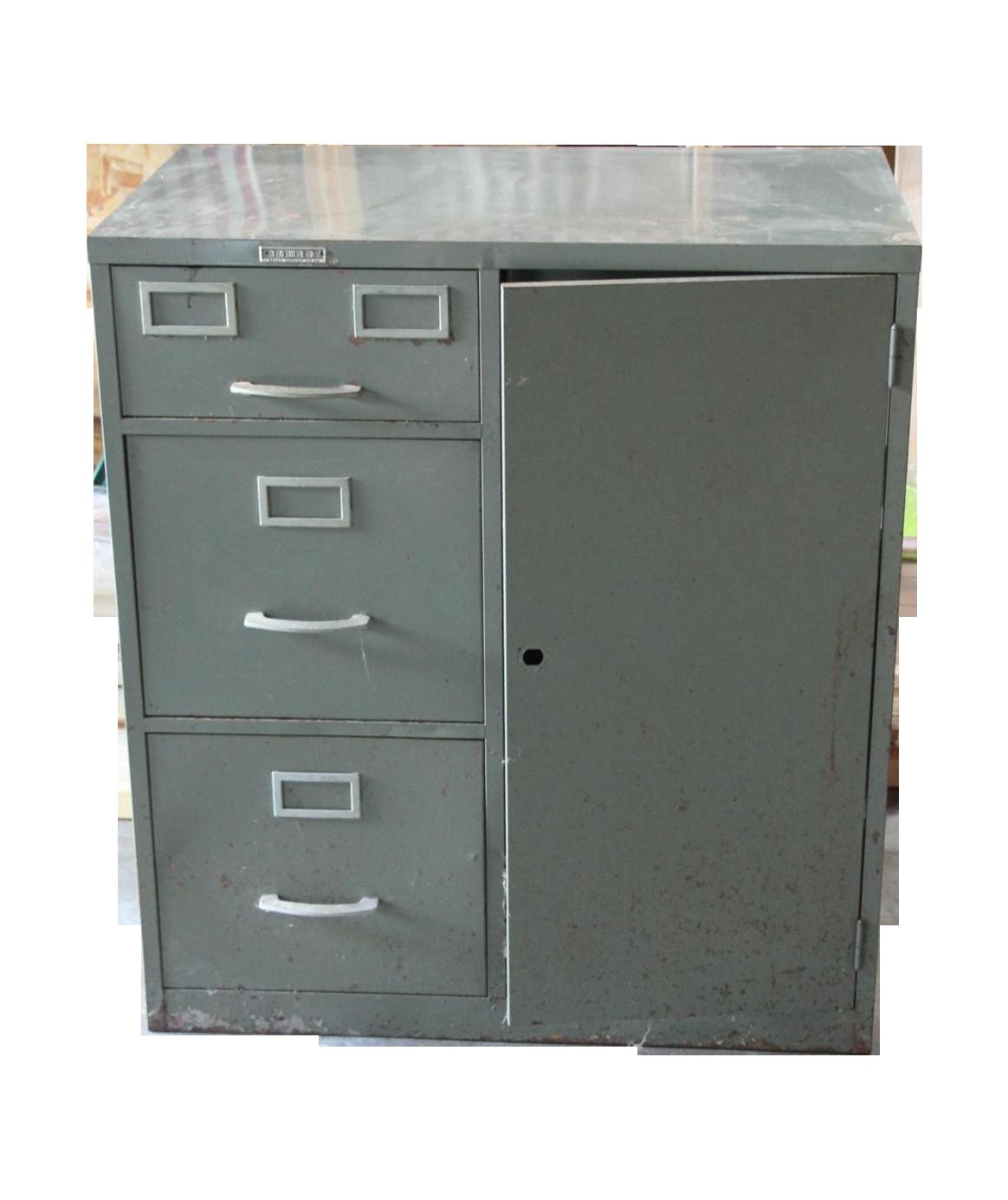 Bon Vintage Filing Cabinet With Safe