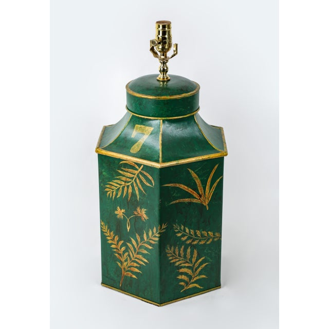Vintage English Export Painted With Ferns Leave Style Green Hexagonal Tea Caddy Lamp For Sale - Image 4 of 9