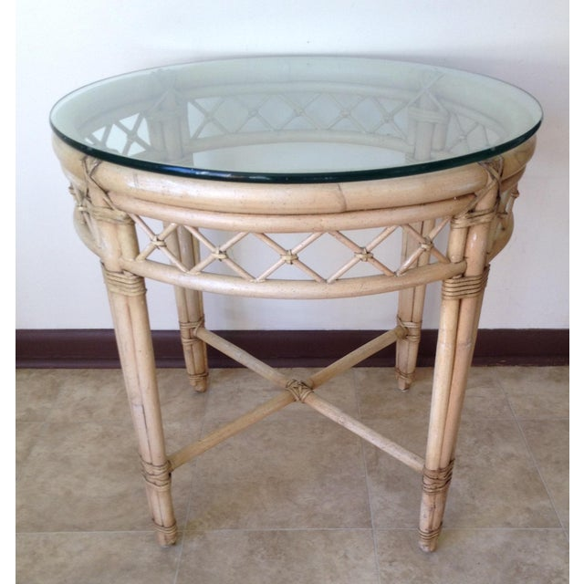 Ficks Reed Lattice Rattan Round Table - Image 2 of 5