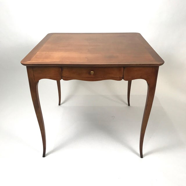 Belle Epoque Two-Sided 1940s Fruitwood Carlhian Paris Decorative French Writing or Game Table For Sale - Image 3 of 10