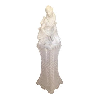 Blanc De Chine Asian Maiden Figure on Pedestal