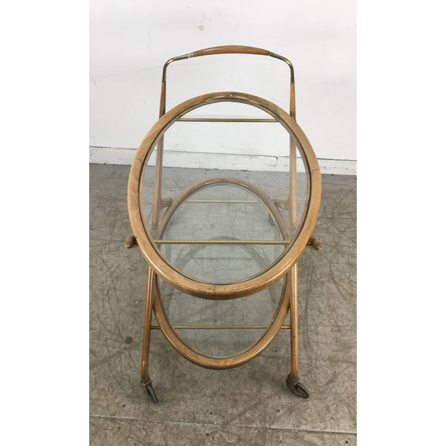 Brass Cesare Lacca 1960s Bar Cart With Glass Shelves and Brass Details For Sale - Image 7 of 8