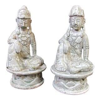 Antique Chinese Celadon Ceramic Bodhisattva Statue Figurines - aPair For Sale