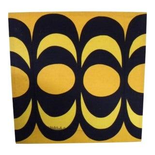 1960s Mid-Century Marimekko Modern Fabric Screen Print on Wood Stretcher For Sale