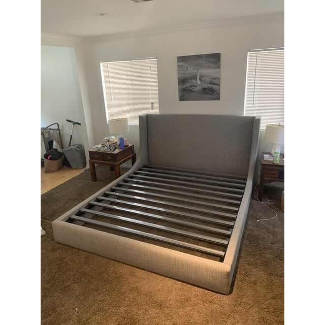 Room and Board Marlo California King Grey Cement Bed Frame For Sale - Image 9 of 9