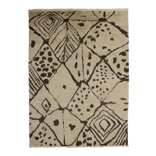 Contemporary Moroccan Style Rug with Abstract Tribal Design