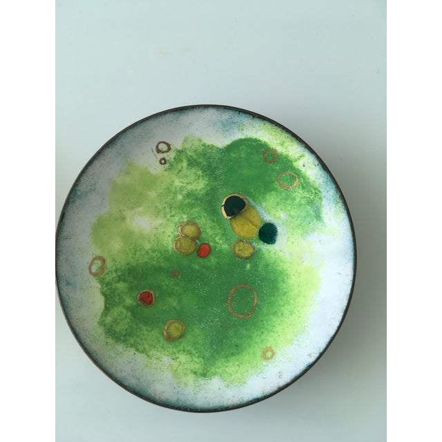 Paint Vintage Green and Primary Color Enamel on Copper Dishes - Set of Four For Sale - Image 7 of 12