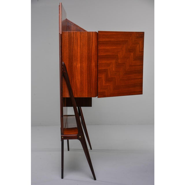 Mid Century Italian Free Standing Rosewood Wall Unit With Marquetry For Sale In Detroit - Image 6 of 13