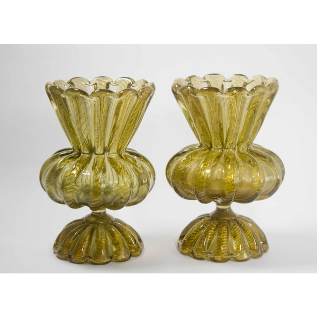 1920's gold Murano vases with gold flakes.